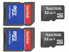 Lot of 2 x 32GB = 64GB SanDisk Micro SD SDHC Class 4 Flash Memory Card w/Adapter