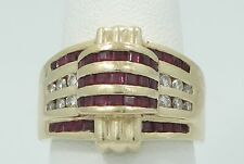 VTG DECO 14K Yellow Gold Square Cut Ruby & 1/4ctw Diamond Band Ring Sz 7.5 B570