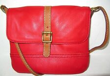 Fossil Taylor Real Red Genuine Leather Top Zip Crossbody Shoulder Bag NWT $148