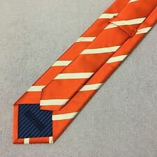 MENS CHARLES TYRWHITT SILK 9cm TANGERINE ORANGE WHITE DIAGONAL STRIPED SILK TIE