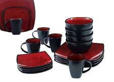 Red Square Dish Set Dinnerware Dining Plates Dishes Mugs Bowls Piece 32 Place 8