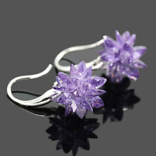 Flower Drop Zircon Earrings Fashion Women Vintage Jewelry Sterling Silver 925