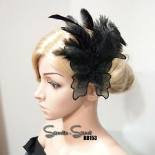 Gatsby Black Lace Butterfly Feather Flapper Fascinator Headpiece Hair Clip Comb