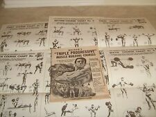 """Joe Weider """"TRIPLE PROGRESSIVE"""" muscle building courses booket with CHARTS 1965"""