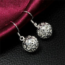NEW Silver Hollow Ball Dangle Earrings Hook Drop Studs HQ
