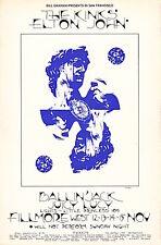MINT The Kinks Elton John 1970 BG 256 ORIGINAL Fillmore Poster
