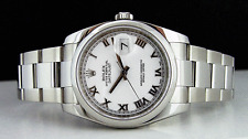 ROLEX - Mens Stainless Steel 36mm DateJust White Roman Dial - 116200 SANT BLANC