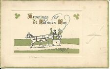 """CANADA - KINGSTON, ONT. 1916 WAVE CANCEL ON """"ST. PATRICK'S DAY"""" EMBOSSED CARD"""