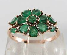 CLASS 9K 9CT ROSE GOLD COLOMBIAN EMERALD ART DECO INS FLOWER RING FREE RESIZE
