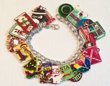 Retro Fun Vintage Christmas Xmas Holiday  Bracelet HANDMADE PLASTIC CHARMS
