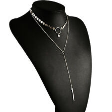 Fashion Silver Gold Sequins Chain Pendant Double Layer Choker Collar Necklace