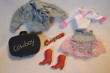 Sweet! Mattel Full Size Barbie DENIM COWBOY Jacket Skirt Shirt BOOTS & Luggage