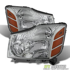Fits 2004-2015 Titan 04-07 Armada Crystal Replacement Headlights Pair Left+Right