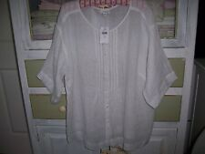 NWT$99 J.Jill 100% Linen WHITE Peasant Tunic Shirt Top Blouse 1X relaxed