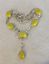 Gorgeous Yellow Stone & Sterling Silver 925 Necklace