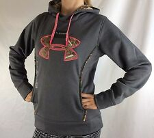 Under Armour Women's Fleece Sweater Hoodie Grey Camo Pink Size S