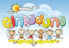 6 Einladungskarten zum Kindergeburtstag oder Kinderfest mit lustigen Kids