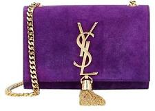New YSL SAINT LAURENT Monogram  uede Chain Bag Purple Tassel $2199