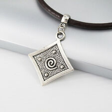 Vintage Silver Spiral Tribal Pendant Womens Mens Dark Brown Leather Necklace NEW
