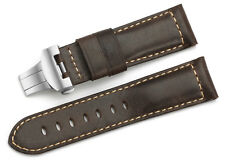 24mm Brown Genuine Asso Leather Watch Band Deployant Clasp Strap For Panerai