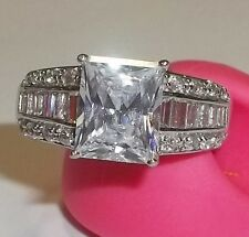 NWOT Seta 925 Sterling Silver Rectangle 3tcw Ring Cocktail Baguettes Sz 10 5.8g