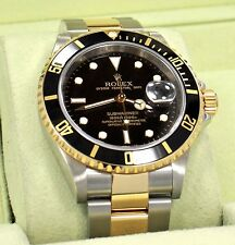 ROLEX Submariner 16613LN 18K Yellow Gold /Steel Black Bezel 2008 BOX/PAPER *MINT