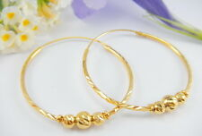 GORGEOUS DIAMOND CUT HOOPS with BEADS 22K 18K Yellow Gold GP Thai Earrings GT12