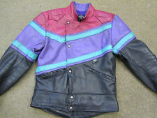 SCOTT MENS VINTAGE LEATHER MOTORCYCLE BLACK/MULTI JACKET FULLY LINED SIZE UK 38