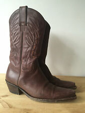 SANCHO LADIES BROWN LEATHER MID CALF COWBOY BOOTS UK5