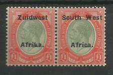 SOUTH WEST AFRICA SG40a  1926 GV £1 PALE OLIVE GREEN & RED FINE MINT PAIR C.£300