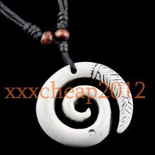 Spiral Fishhook Hawaiian Maori Pendant Necklace RH016