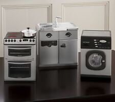 """Pottery Barn Kids Miniature 18"""" DOLL Fridge, Sink Stove Washing Machine Set NEW"""
