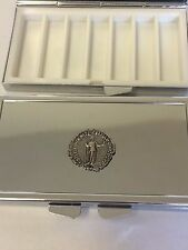 Denarius Of Commodus Coin WC18 English Pewter On Mirrored 7 Day Pillbox Compact