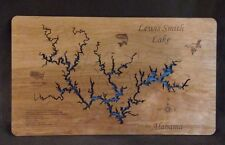 Wooden 2D Cut, Lewis Smith Lake wooden laser engraved Topographical map wall NEW