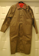 "MARLBORO GEAR RANGE TRENCH DUSTER COAT JACKET M 52"" CHEST LEATHER COLLAR LINED"
