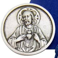 Sacred Heart Jesus 1 Inch Prayer Coin Token Silver Tone Metal w Bag Italy by MRT