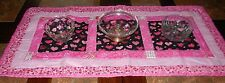 Handmade Valentine's Day QUILTED  TABLE RUNNER 34x15 Glitter  Red Pink Hearts