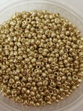 50g glass seed beads - Gold Metallic - approx 3mm (size 8/0)