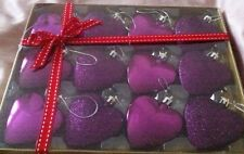 12 HEART SHAPED GLITTER CHRISTMAS TREE BAUBLES ORNAMENTS DECORATIONS SPARKLE
