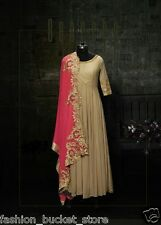 BEIGE COLOR NEW STAYLISH BOLLYWOOD DESIGNER ANARKALI  DRESS