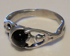 MOON Dancer NIGHT GODDESS Ring .925 Sterling SILVER Sz 6 w/ Black Star Diopside