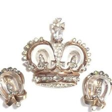 RARE VINTAGE SIGNED TRIFARI JELLY BELLY RHINESTONE CORONATION CROWN PIN EAR SET
