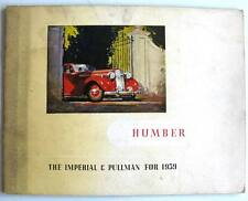 Humber Imperial & Pullman Models For 1939 Pre-War Car Sales Brochure