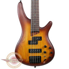 Brand New Ibanez SR655 5-String 5 String Electric Bass Brown Burst Flat Ash Body