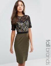 NEW Paper Dolls Tall Pencil Dress With Lace Bodice And Sleeves, Khaki Size 8 £62