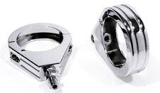 für Harley Springer 49mm Blinkerhalter Befestigung Klemmen Chrom Gabel Universal