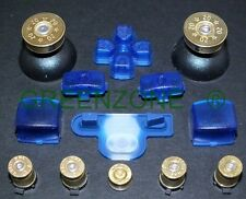 PS3 Controller Full Clear Blue Mod Kit, Brass Bullet Buttons + Thumbs + Home