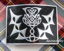 KILT BELT BUCKLE HIGHLAND THISTLE DESIGN BLACK ENAMELLED made by GlenEsk KILTS
