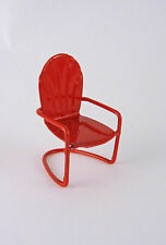 "Dollhouse Miniature Fairy Garden Tiny 1 1/8"" RED Metal Lawn Chair, 17300"