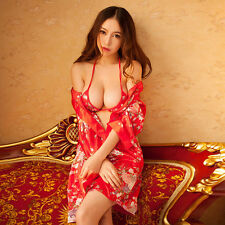 Womens Sexy Japanese Red  Cherry Kimono Lingerie Deep-V Uniform Cosplay Suit